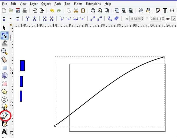 <p> 4. Click on the bezier tool, circled in red. </p>  <p> Create a line.     </p>  <p> Select the line. Click on the Edit Nodes tool  icon. </p>  <p> Drag the line to make a slight curve.</p>  <p> ***You can leave the line as it is if you want to use straight lines in you design  </p>