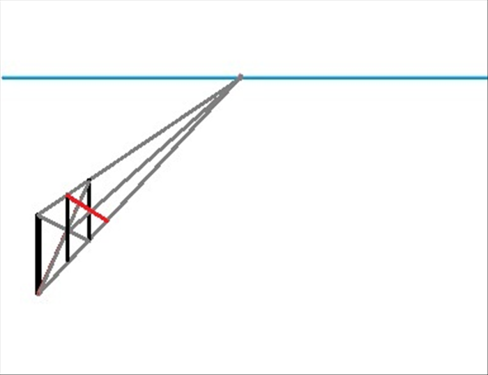 Draw a line from the top of the second vertical line until the bottom orthogonal line. Make it pass through the point where the third vertical line and the middle orthogonal line meet.
