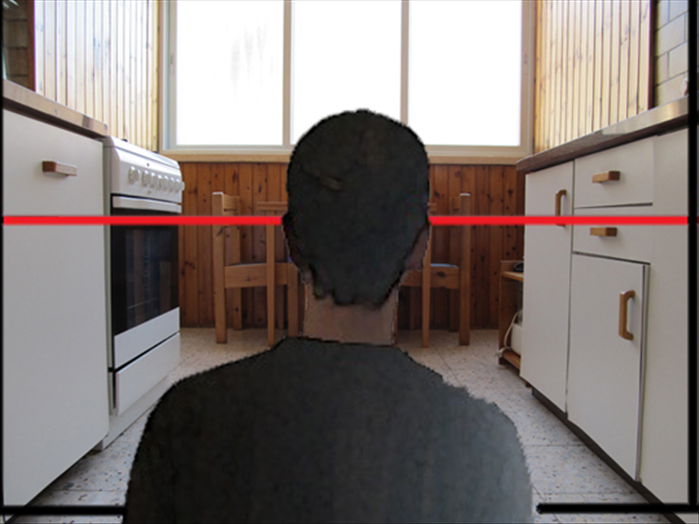 In this picture the viewer is sitting on the floor of the kitchen.  *Note that his eye level is lower than the previous picture when he was standing.