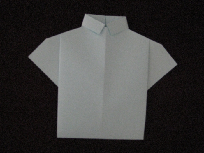 Flip the paper over to see you finished origami shirt.