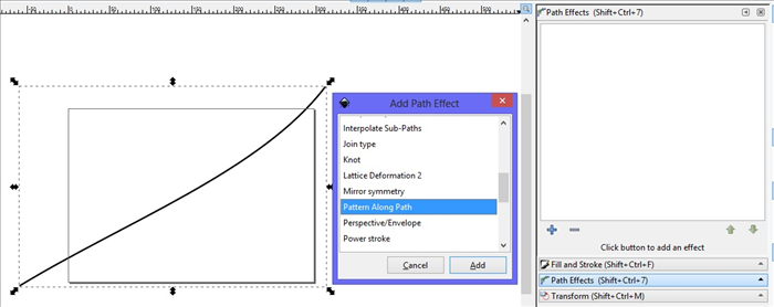 <p> 8. The Add Path Effect menu will appear. </p>  <p> Scroll down and click on Pattern Along Path.  </p>  <p> Click on Add.  </p>