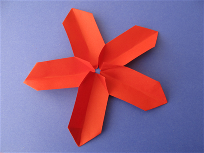 Repeat with the remaining 2 folded rectangles and glue the last on both corners  Your 5 petal flower is ready!