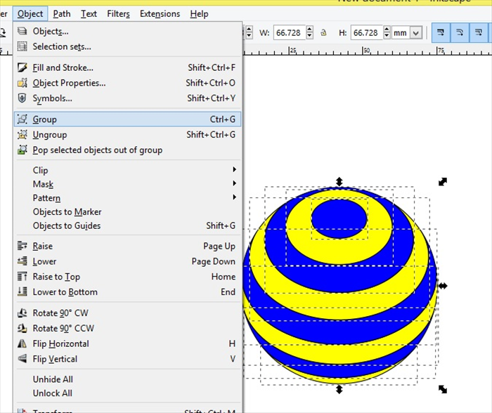 <p> Select the small oval on the right and  click apply to move it</p>  <p> Drag the select box to select all of the stripped circle</p>  <p> Click Object - Group</p>