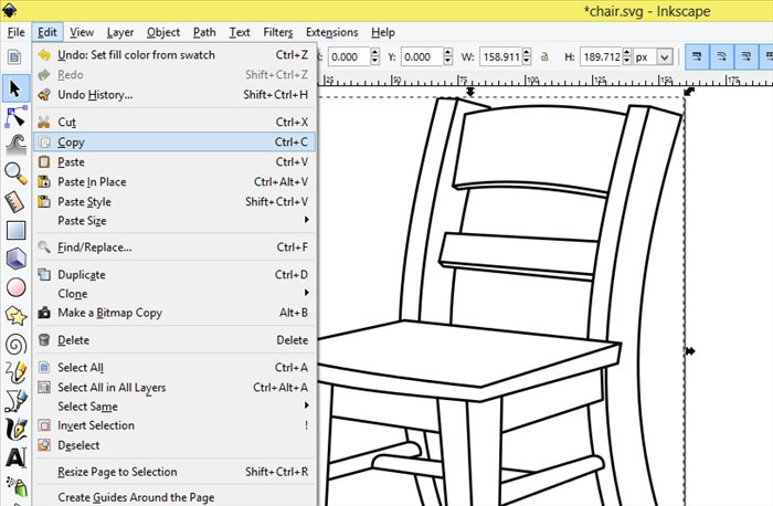 <p> 8. Select the chair.</p>  <p>  </p>  <p> Click on Edit - Copy</p>
