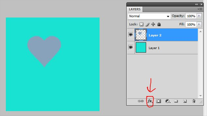 Click on the layer  with the image on it to selected it. The layer color will be highlighted Click on fx  at the bottom of the layers window