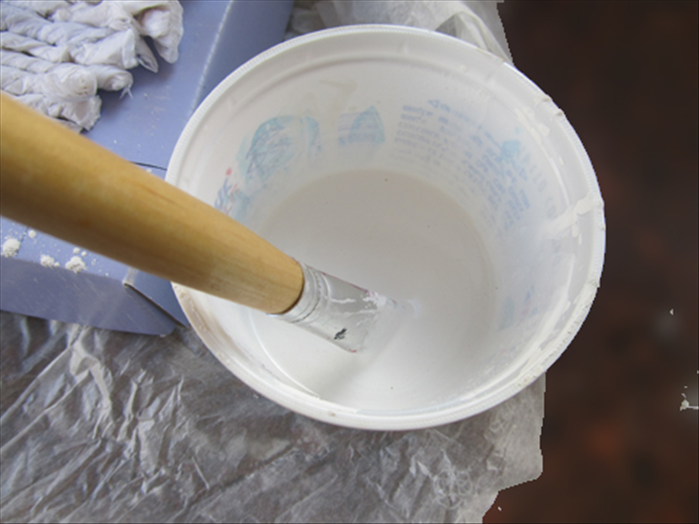 Mix about 1/3 of a cup of the white paint with a teaspoon of plaster.