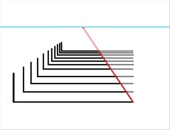To use these lines for a scene or a room, draw a line from the end of the bottom horizontal line to the vanishing point. Erase the horizontal lines on the right side of it and also above the top horizontal line. See the next picture for results