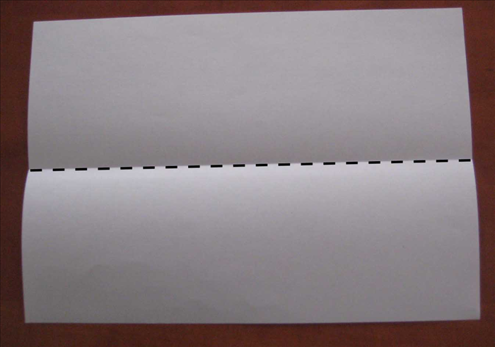 Place the paper with the short edges at the sides.  Fold it in half horizontally. Unfold