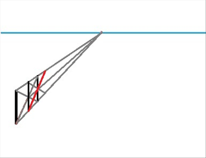Draw a line from the bottom of the second vertical line to the top orthogonal line. Make it pass through the point where the third vertical line and the middle orthogonal line meet.