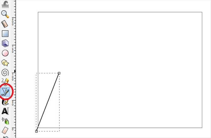 <p> 3. Click on the Bezier tool and draw a line at an angle  </p>