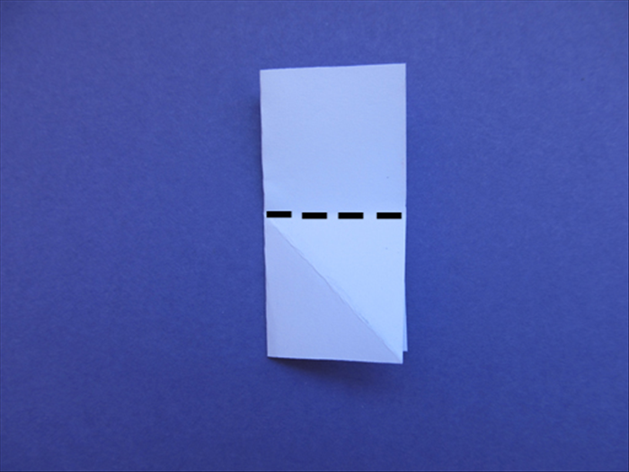 Rotate the paper so that the folded edge is on the left side. Bring the top edge down to the bottom edge to fold it in half again