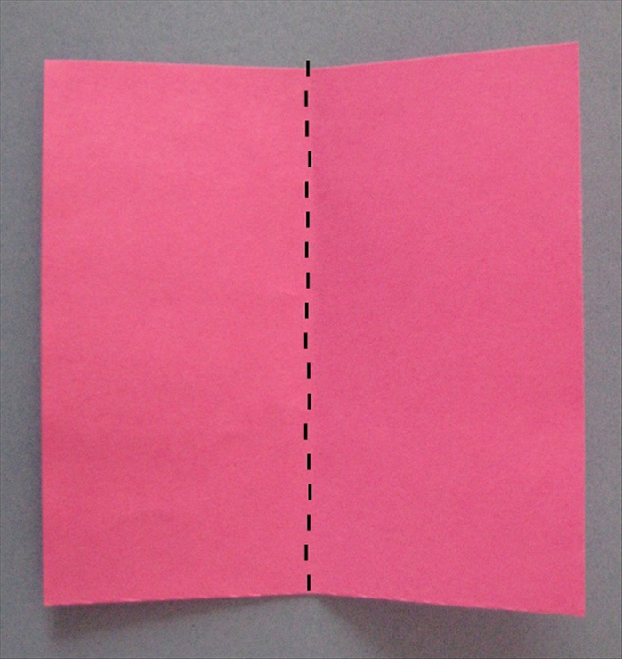 Take the large square of paper and fold it in half vertically. Unfold
