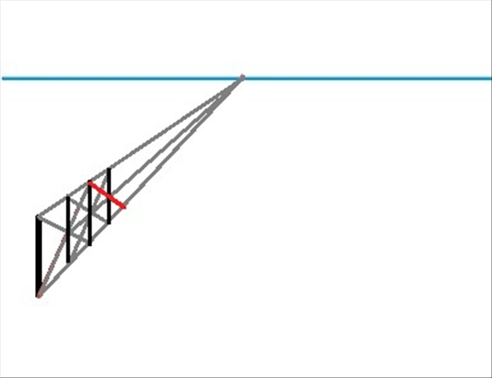 Repeat the same process of connecting the top of the second to last vertical line with the bottom orthogonal.