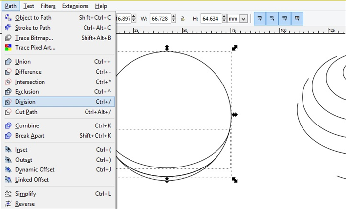 <p> Repeat as before</p>  <p> select the second bottom curve line and move</p>  <p> and with that curve line selected - shift on keyboard and select the circle</p>  <p> and Path - Division  </p>  <p>  </p>  <p> * Click at the top of the circle to prevent selecting all of the curve lines </p>