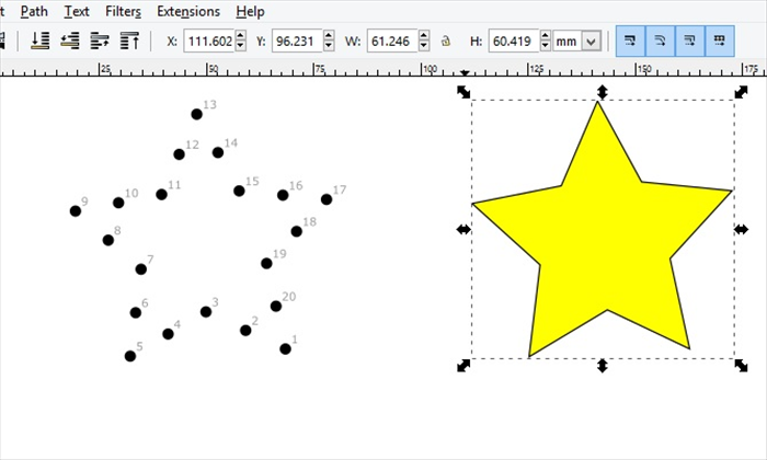 <p> This guide will show you the basics for creating a connect the dots picture with Inkscape using a star as an example.</p>