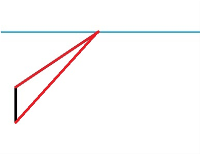 Draw a line from the top of the vertical transversal line to the vanishing point Draw another line from the bottom of the vertical transversal line to the vanishing point. *These 2 lines are called orthogonal lines