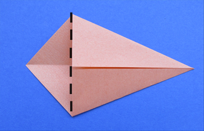 Fold the left point along the edge of the 2 flaps