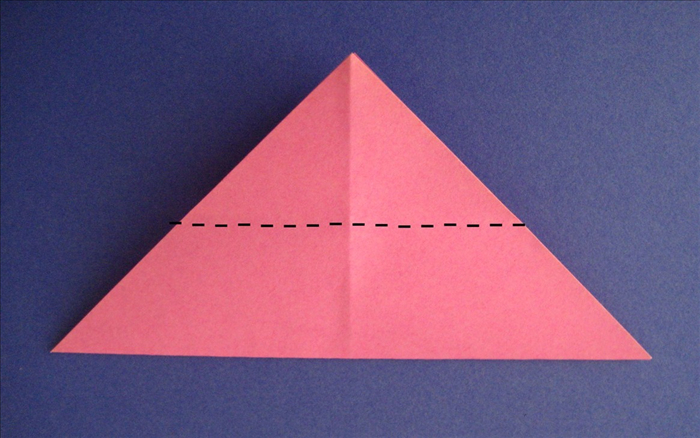 Fold the top point down to bottom edge unfold