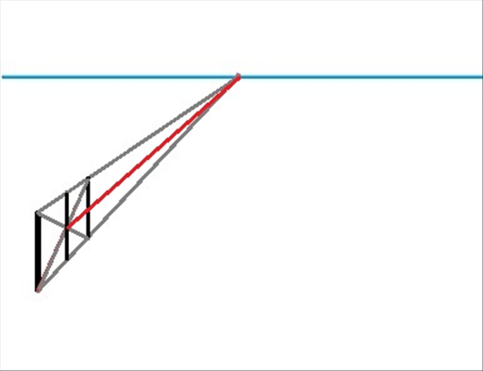 Draw an orthogonal line from the intersection to the vanishing point.