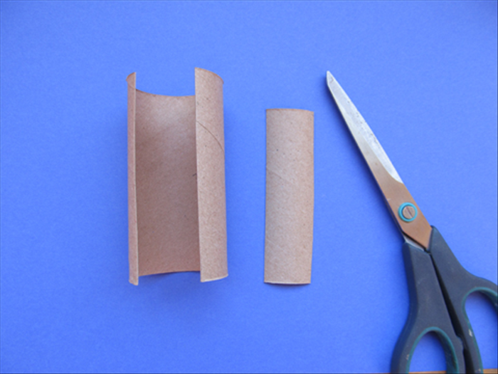 Cut a 1 inch slice lengthwise from the toilet paper roll