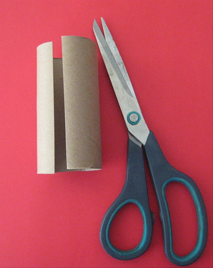 Cut a slit lengthwise in your toilet paper roll