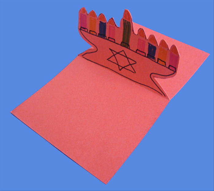 When you open your card the menorah should stand up.  Your Hanukkah card is ready to write the greetings.  Happy Hanukkah!