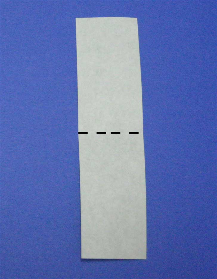 Place the paper so that the short ends are at the top and bottom.  If you are using  paper colored on one side the color side should be facing down.  Bring the bottom edge up to the top edge to fold it in half.  Unfold