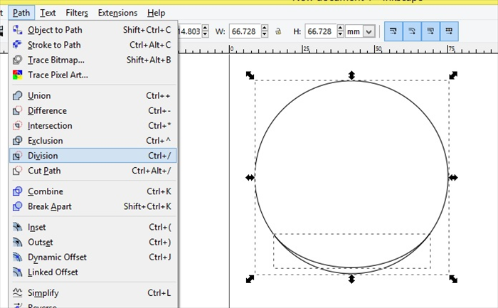 <p> Select the curve line and while pressing shift on your keyboard select the circle</p>  <p> Click Path - Division  </p>