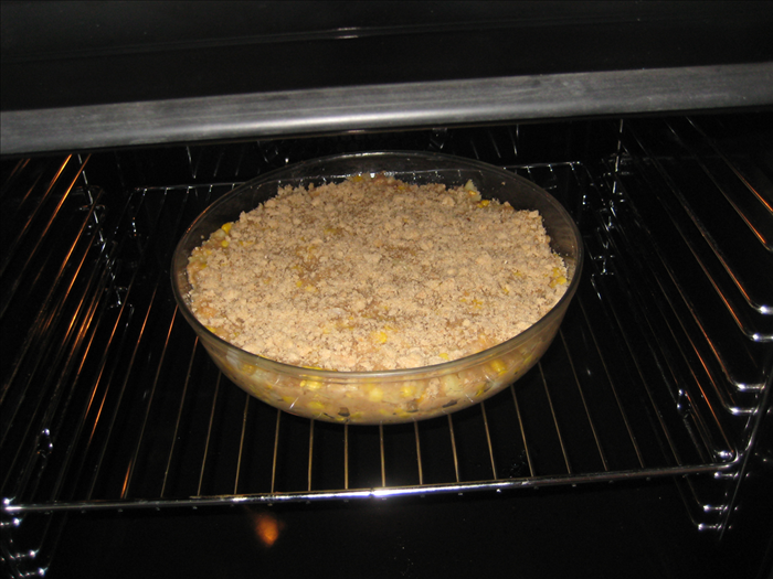 <p> Bake in 350 degree fahrenheit oven 50 min or until lightly browned on top</p>