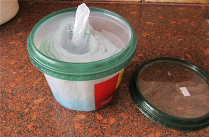 Materials  Large sized plastic container and 2 covers  1 roll of good quality paper towels  A sharp knife  Scissors  pen  Liquid cleaning solutions such as vinegar, bleach, window cleaner etc..