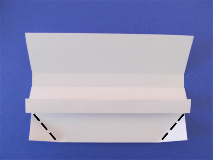 Bring the corners up and align the sides with the bottom edge of the horizontal fold