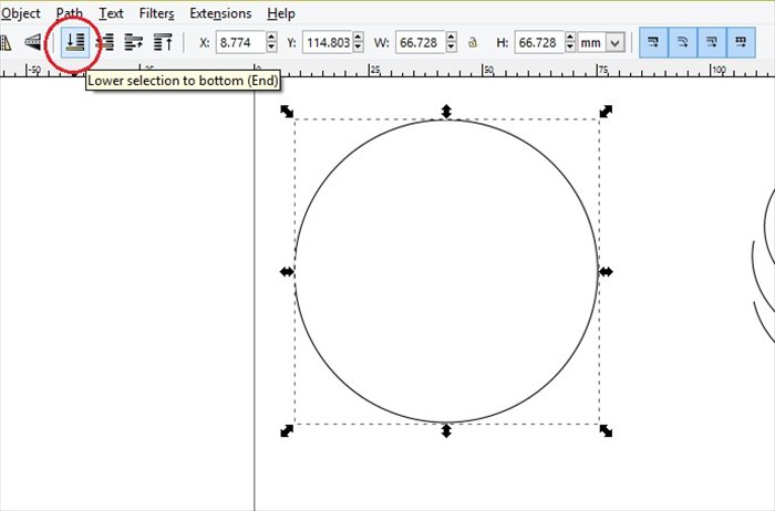 <p> With the circle still selected - Click lower selection to bottom </p>