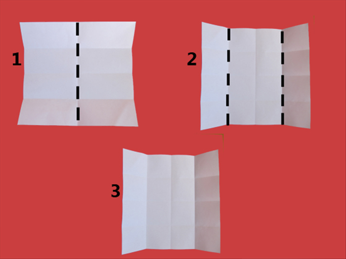 Rotate the paper and repeat steps 2 to 4 in the opposite direction The result will be 16 squares
