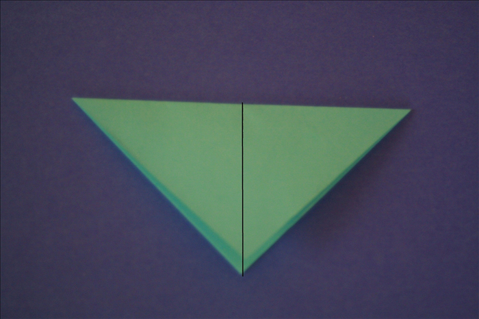 Bring the right point over to the left point to fold it in half again.