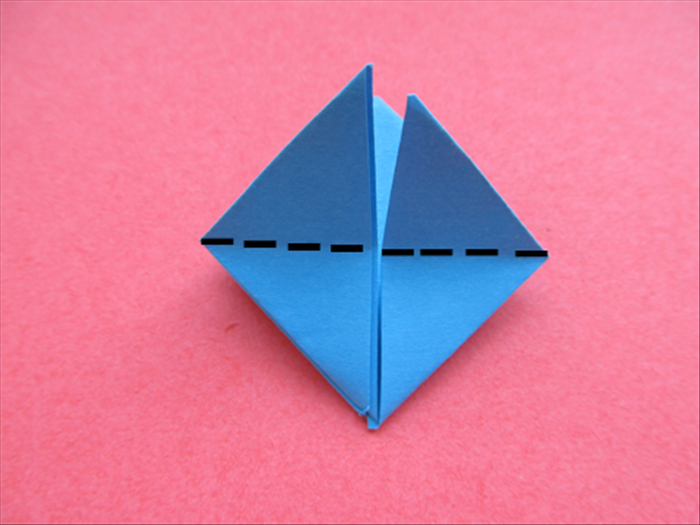 Fold the top points straight down to the bottom point,  crease sharply and unfold them