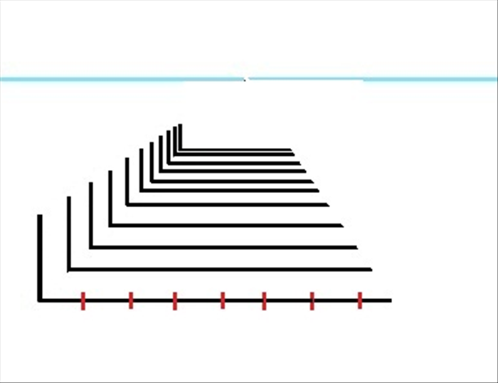 If you want a proportional grid for the widths of receding objects, make markings that divide the bottom horizontal line. In this case the divisions are equal but any measurements can be used.
