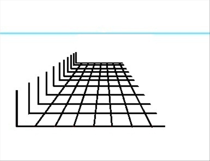 Erase the orthogonal lines above the top horizontal transversal line. This grid you just made can be used for objects such as floor tiles, railroad tracks or placement of objects.