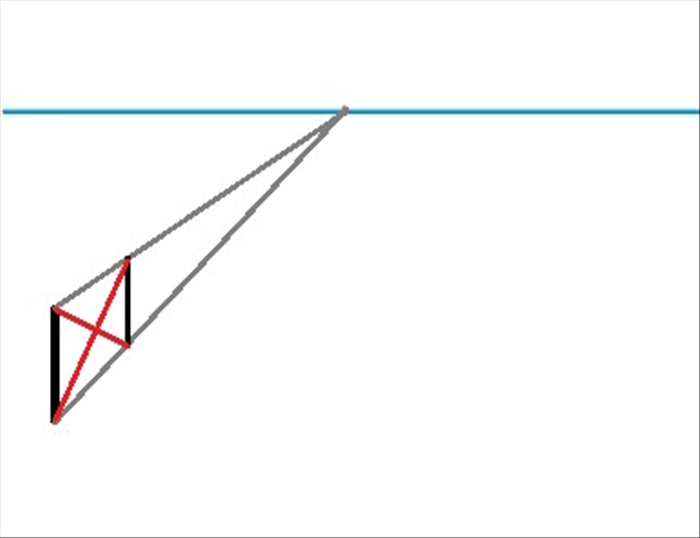 Draw a line from the top of the first vertical line to the bottom of the second vertical line Draw a line from the bottom of the first vertical to the top of the second vertical line. *These 2 lines are also called orthogonal lines