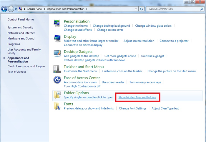 Under 'Folder options' click on 'Show hidden files and folders'.