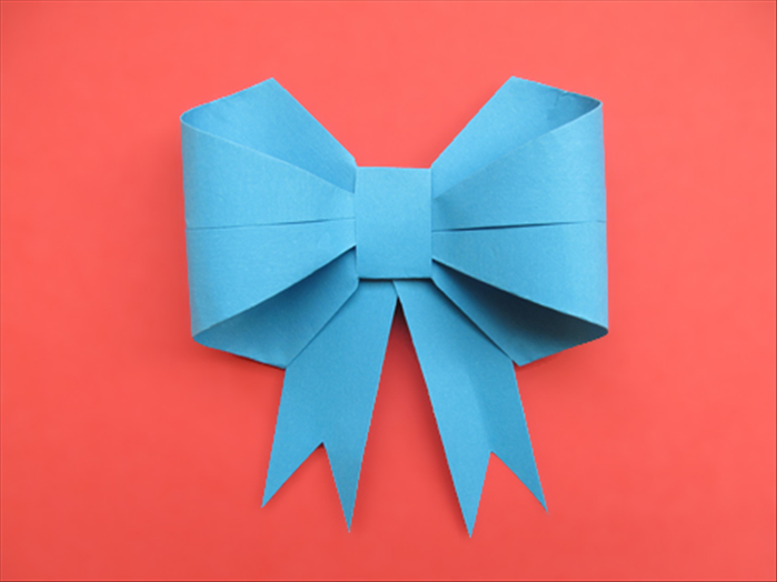 Flip the paper over to see your finished paper bow!