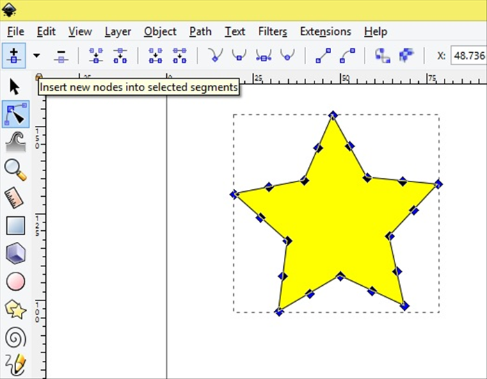 <p> Click once on the Insert new nodes into selected segments.  </p>  <p>  </p>  <p> *If you click too many times by mistake do not click on remove selected segments. It will delete the whole star. </p>  <p>  </p>  <p> Click on Edit - Undo or ctrl -Z on your keyboard.  </p>