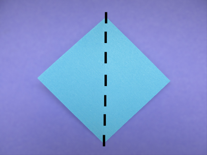 <p> Place the paper with the points at the top, bottom and sides.</p>  <p> Bring the side points together to fold it in half.</p>  <p>  </p>