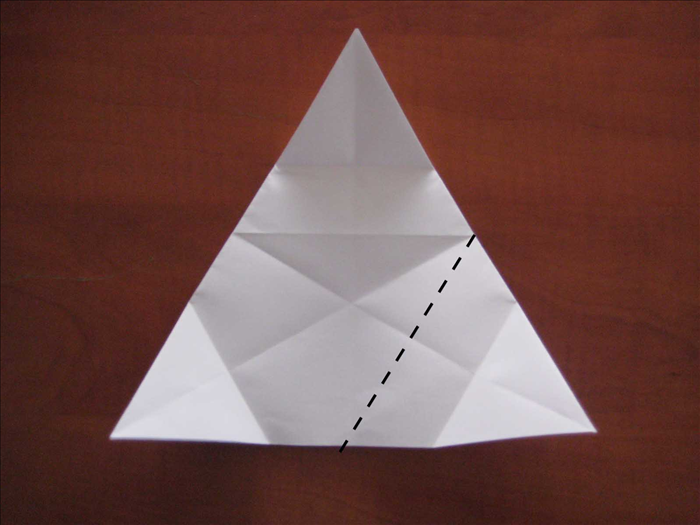 Fold the right bottom point up to the center of the left side.