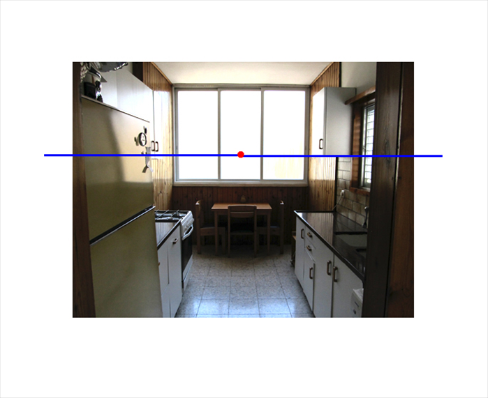 *note that because the viewer is standing with his feet on the floor of the kitchen, the counter tops are below his eyelevel and below the horizon line  * note that the top of the refrigerator and tops of the windows are above the eye level and so above the horizon line