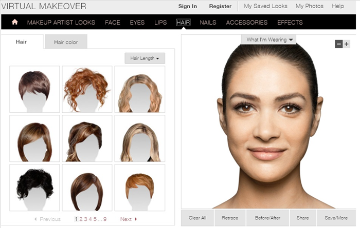 <p> Virtual Makeover</p>  <p> Put on foundation make up, concealer or blush.</p>  <p> You can try different eye shadows, eyeliners, mascara and brow make up,lipstick, gloss and lip line, different hairstyles and hair color.</p>  <p> Try on nail polish, veils, headwear, tiaras and hairclips, necklaces and earings,glasses and sunglasses and scarves.</p>  <p> Put yourself on a magazine cover, in a frame and on a bill board</p>  <p> <a href='http://www.marykay.com/en-US/TipsAndTrends/MakeoverAndBeautyTools/_layouts/MaryKayCoreTipsAndTrends/VirtualMakeOver.aspx' rel='nofollow'>http://www.marykay.com/en-US/TipsAndTrends/MakeoverAndBeautyTools/_layouts/MaryKayCoreTipsAndTrends/VirtualMakeOver.aspx</a></p>  <p>  </p>  <p>  </p>  <p>  </p>