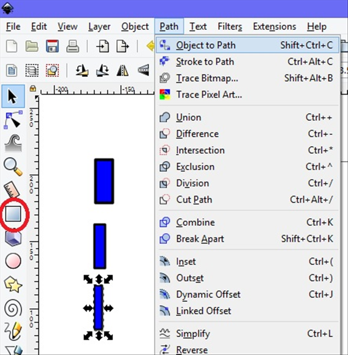 <p> 3. Click on the Create rectangle icon,circled in red.</p>  <p> Create a few small rectangles of different widths.</p>  <p> Select a rectangle. Click on Path - Object to Path.</p>  <p> Repeat for each rectangle.  </p>