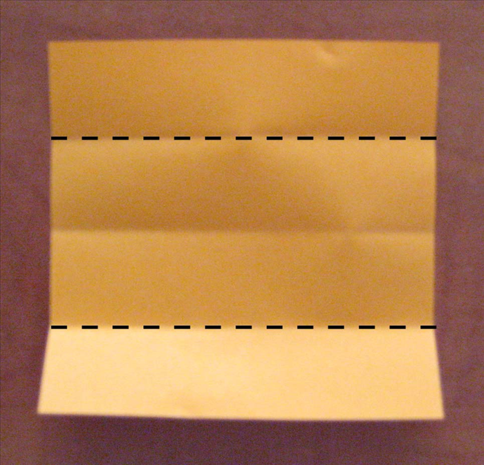 Fold the top and bottom edges to the center crease. Unfold