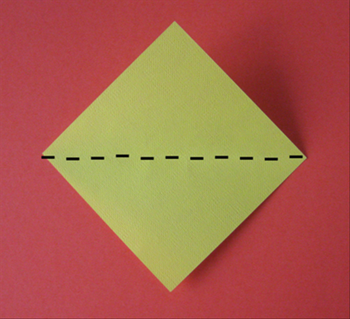 Fold the bottom point up to the top point.