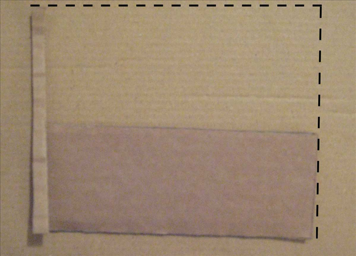 <p> Alight the corners of the large rectangle and the thin cardboard strip (you just measured along the top of the half circle ) Mark the height and width of the cardboard. Draw the lines with a ruler and cut out the pieces.</p>
