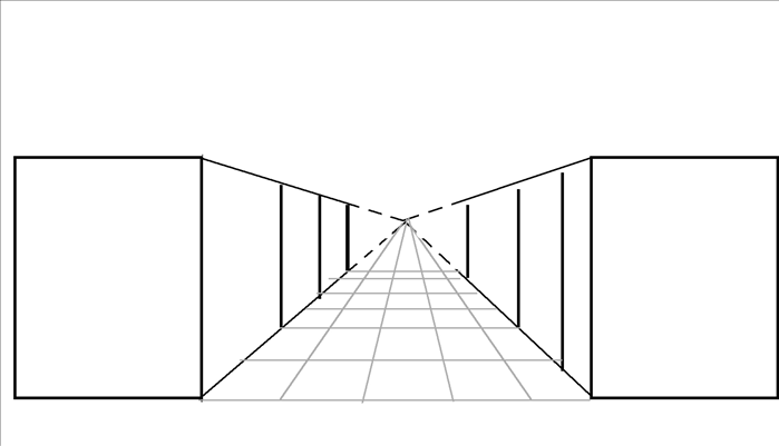 The closets in reality are all the same height and width.  They are aligned and solid so we only need to put vertical lines connecting the orthogonal lines at different distances on the sides that we can see.  * notice that as they get closer to the vanishing point they appear smaller; they become more distant from where we are standing.  One point perspective can be used for drawings objects such as walls, hallways, roads, railroad tracks and rooms.